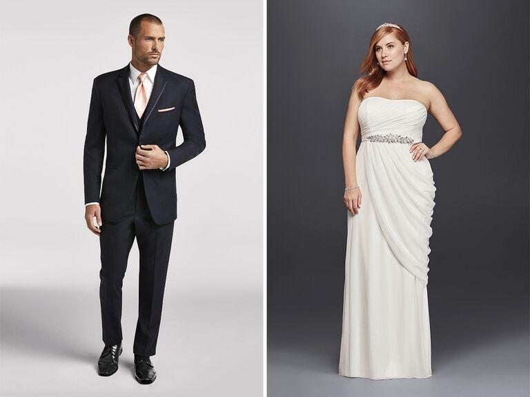 modern wedding dress and navy tuxedo