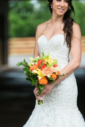 Circus Rose Orange and Yellow Bridal Bouquet