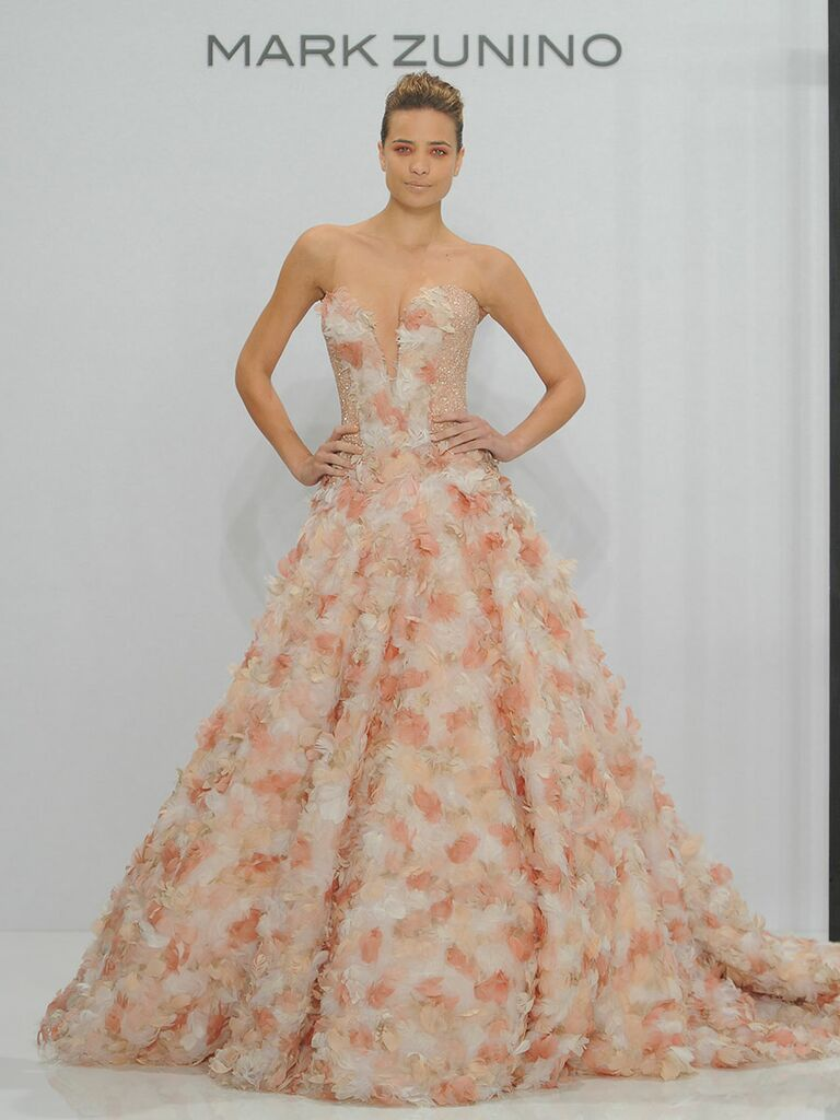 3f2f6a5cd178 Mark Zunino for Kleinfeld Fall 2017 strapless plunging sweetheart ball gown  with blush and gold tulle