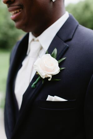 Blooming Single White Rose Boutonniere