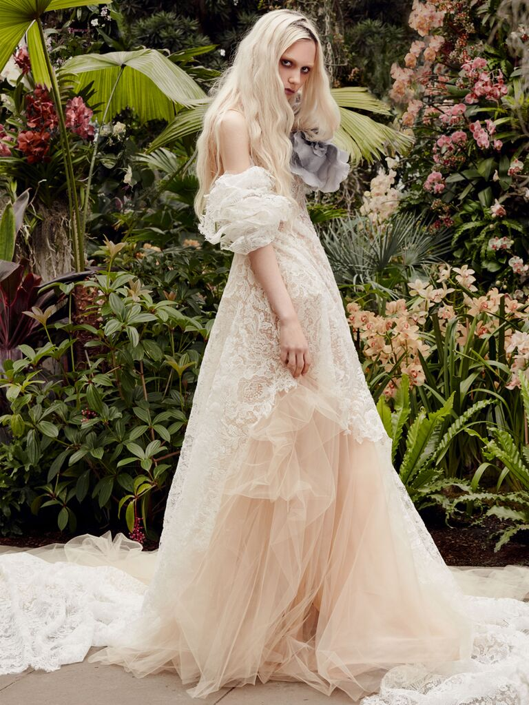 Vera Wang Spring 2020 Bridal Collection lace wedding dress with off-the-shoulder sleeves