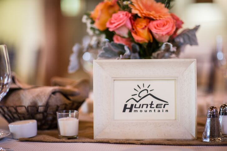 Having met on the slopes, Todd and Lydia named their reception tables after their favorite ski spots. When creating their seating chart, the couple grouped their friends and family members together at tables where they had skied together or where they were from.