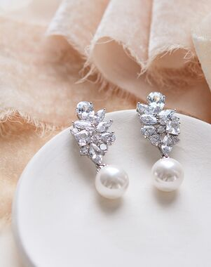 Dareth Colburn Serenity Pearl & CZ Earrings (JE-4152) Wedding Earring photo