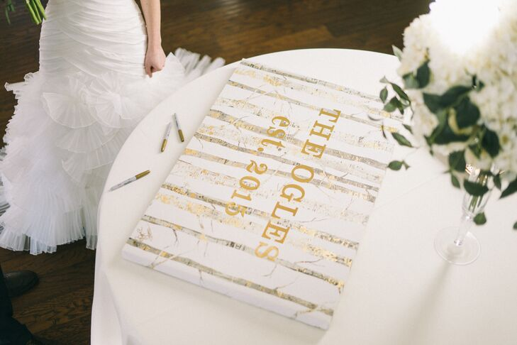 N Ivory and Gold Canvas Guest Book