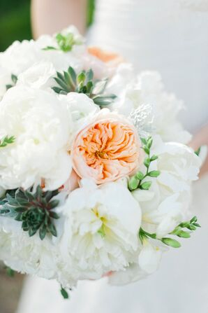 Succulent, Garden Rose and Peony Bouquet