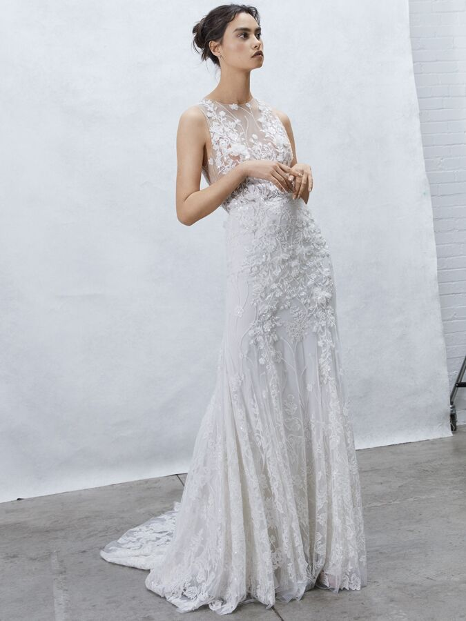 Alyne Collection beaded lace sheath wedding gown