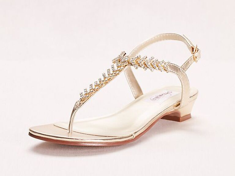 Gold jeweled comfortable wedding sandals