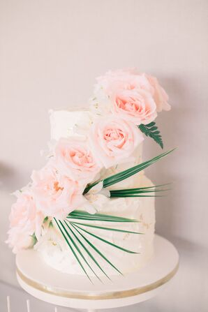 Two-Tier Wedding Cake With Cascading Roses