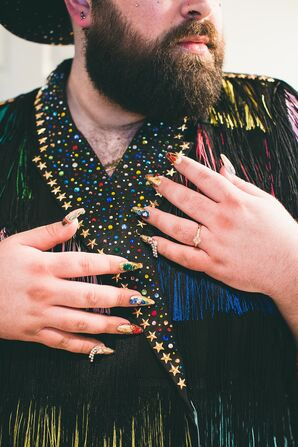 Groom with Colorful Tassel Jacket and Glamorous Manicure