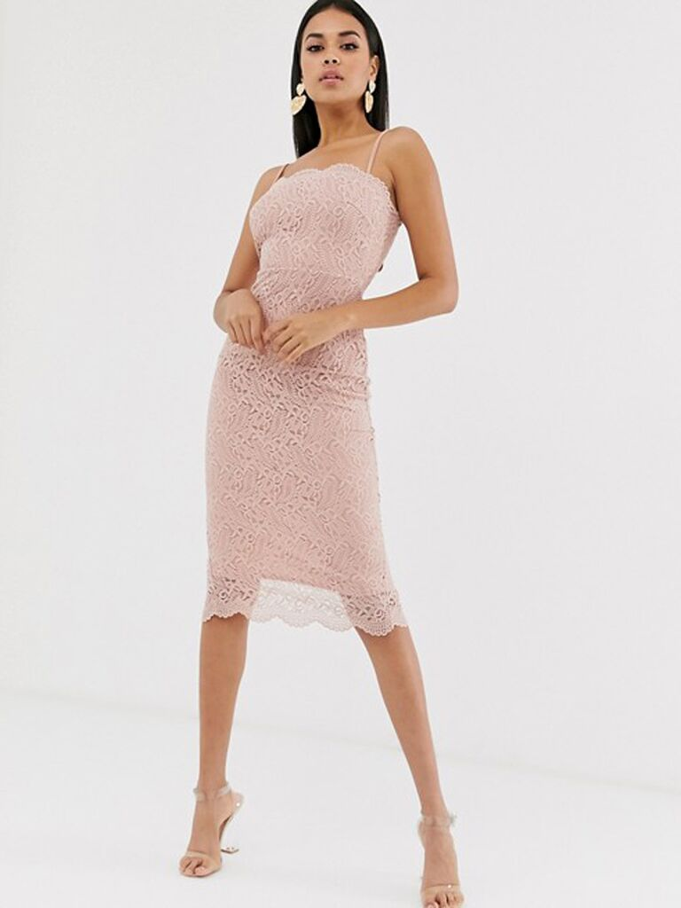 Pink lace engagement party dress