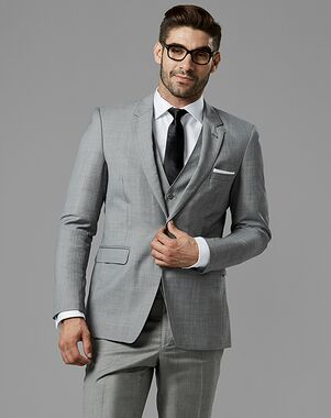 Generation Tux Gray Sharkskin Notch Lapel Suit Gray Tuxedo