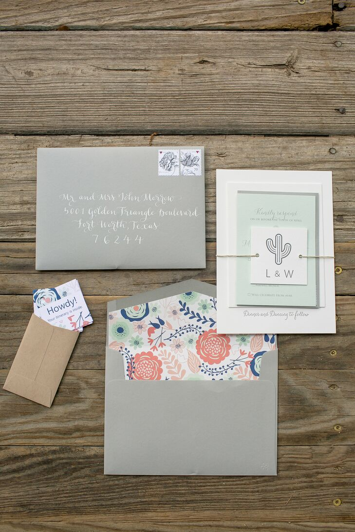 An invitation suite with gray, coral, seafood and navy—along with their custom cactus logo—set the tone for their Southwestern celebration.