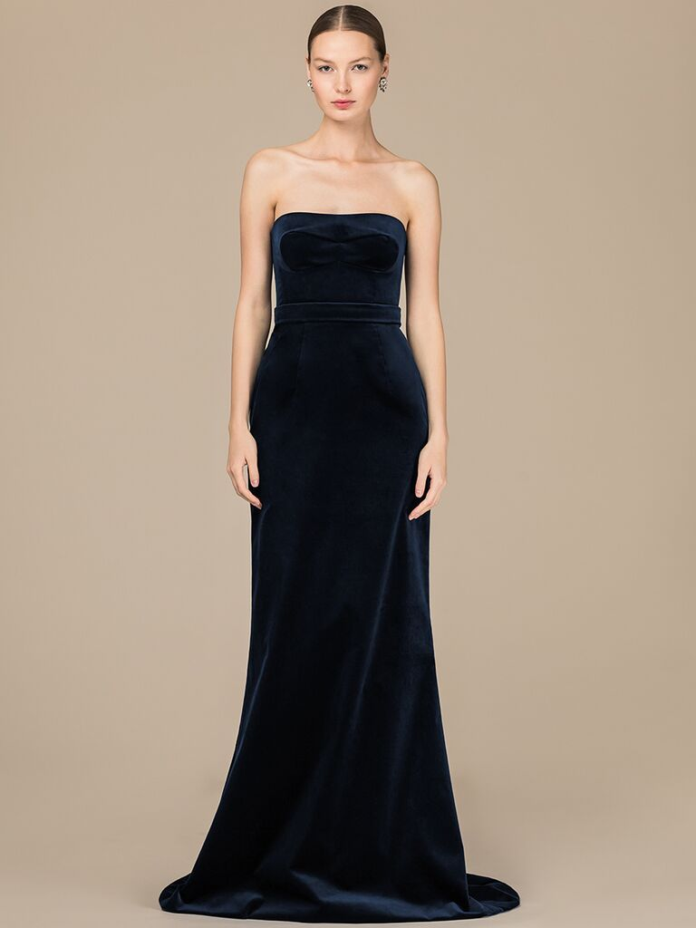 EDEM Demi Couture navy fitted strapless dress