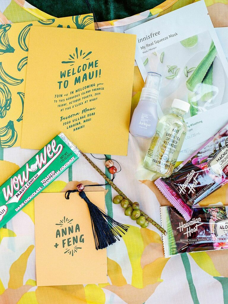 Versatile summer wedding favors with snacks, hand sanitizer and stationery