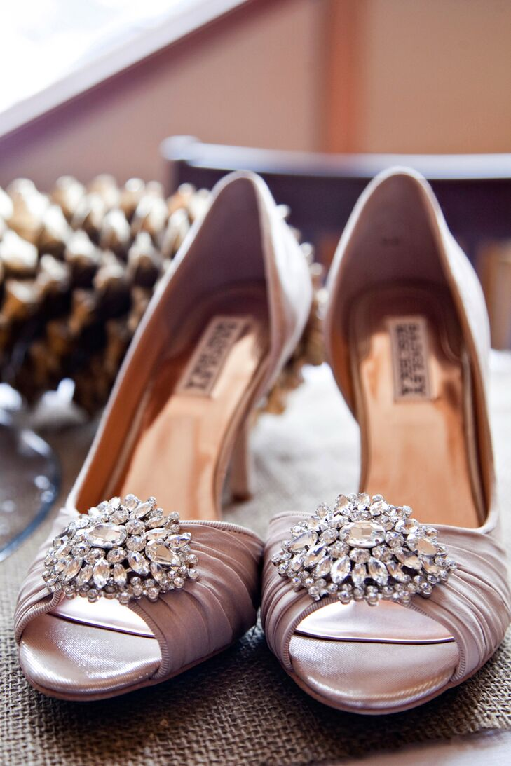 Bryanna wore champagne Badgley Mischka peep-toe heels with crystal accents for her intimate wedding ceremony.