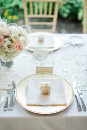 Gold Chargers and Macaron Favors