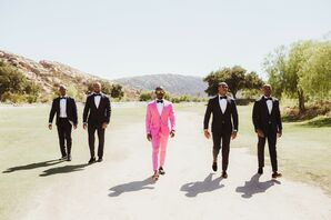 Groom with Pink Suit and Groomsmen in Desert