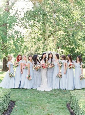 Bridesmaids in Pale Blue Dresses at Pennsylvania Wedding