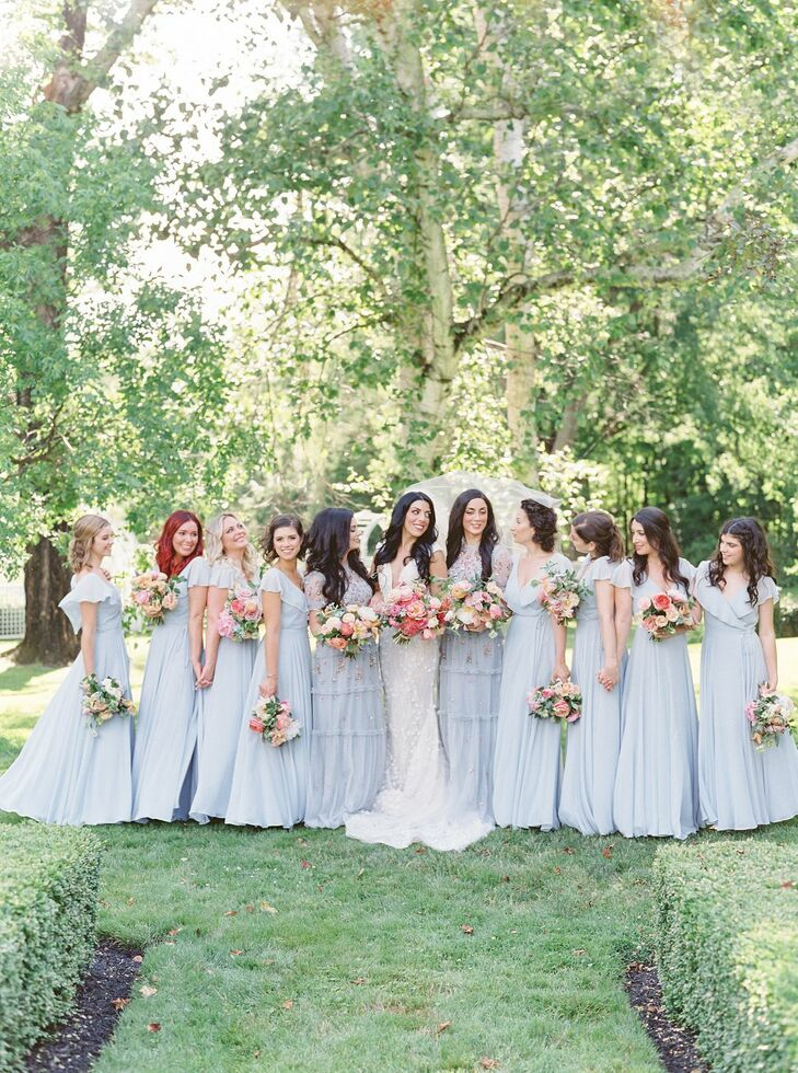 Bridesmaids in Pale Blue Dresses at Pennsylvania Wedding