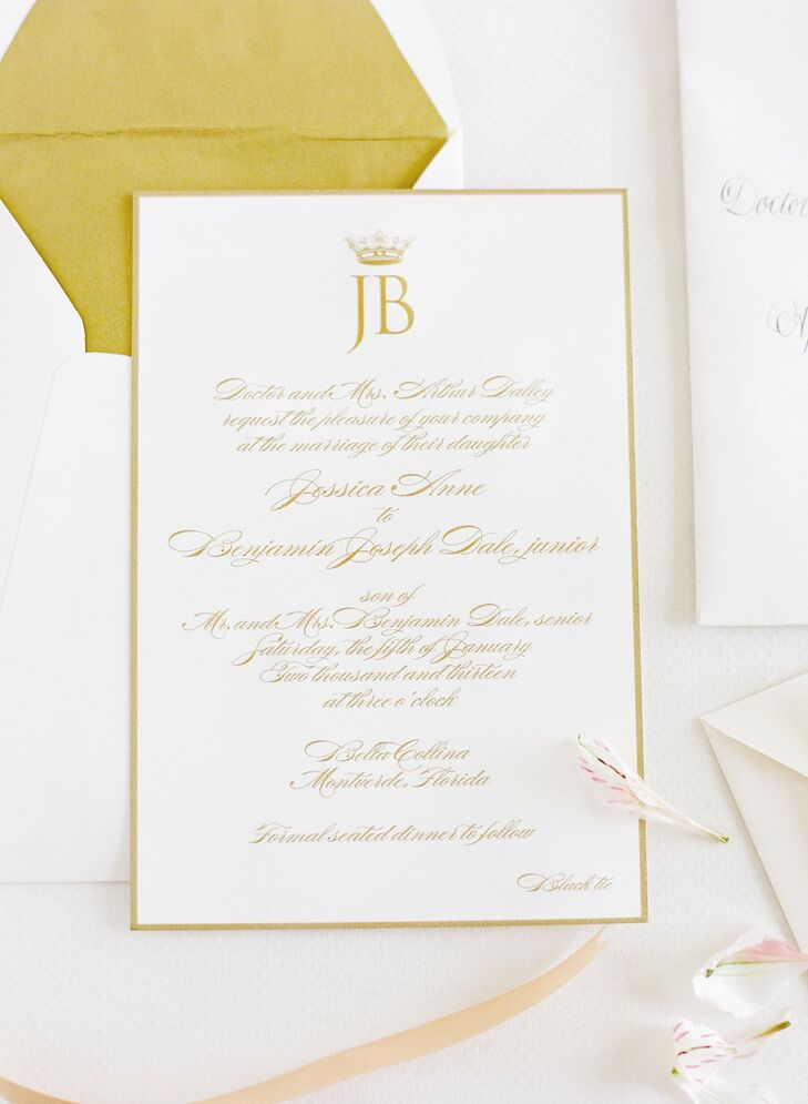 Jessica and Ben went with a classic, formal look for their invitations, opting for gold ink and a custom monogram.