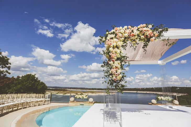 Platform Over Pool Wedding Ceremony in Austin, Texas