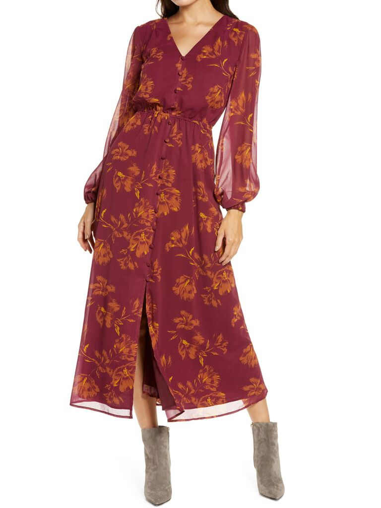Maroon and orange floral maxi dress with sheer long sleeves