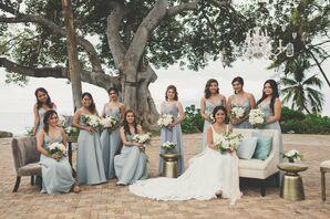 Pale-Blue A-Line Bridesmaid Dresses