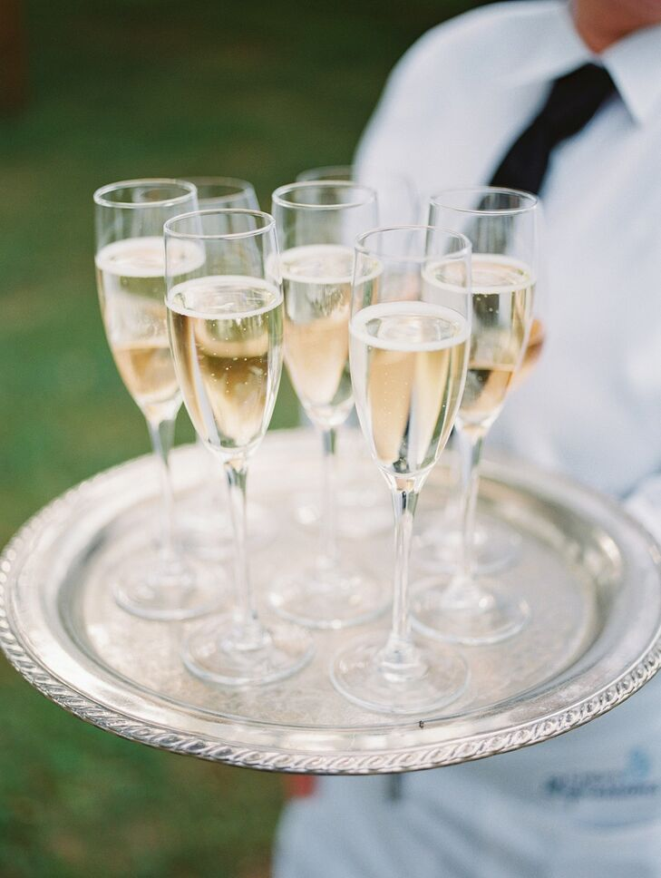 Passed Champagne Flutes at Wye River Estate Wedding