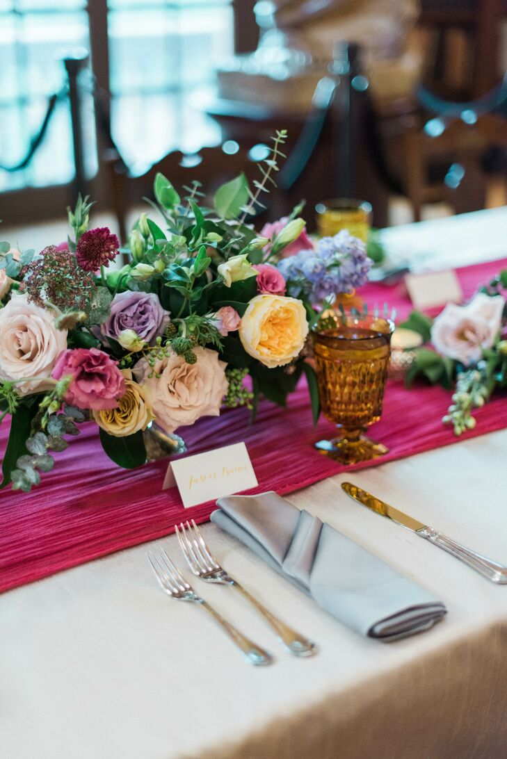 Peony and Greenery Centerpiece on Pink Table Runner