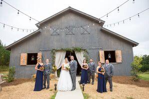 Long Navy Chiffon Bridesmaid Dresses
