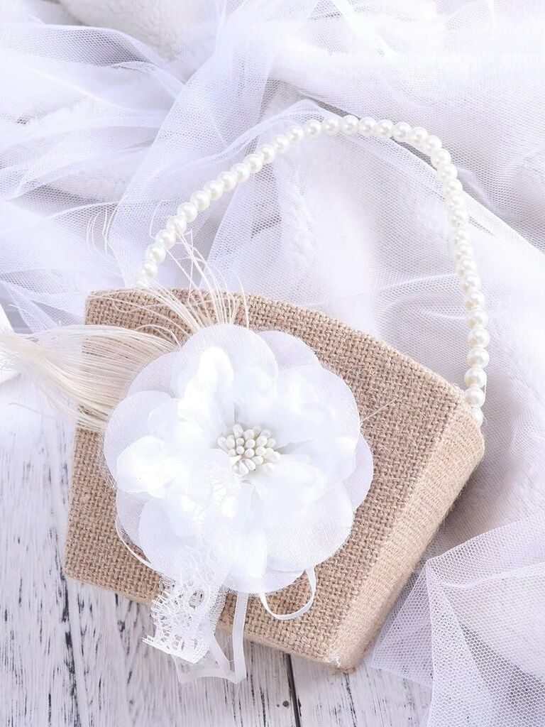 burlap pearl flower girl basket