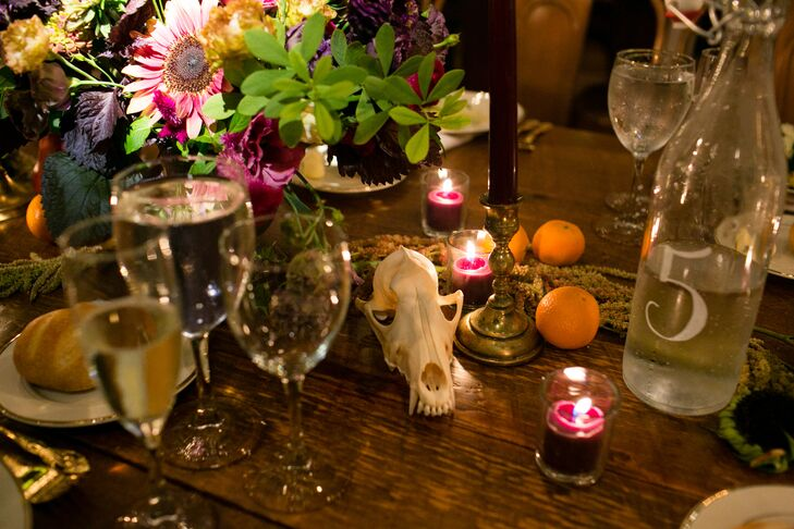 Centerpiece with Oranges and Animal Skull
