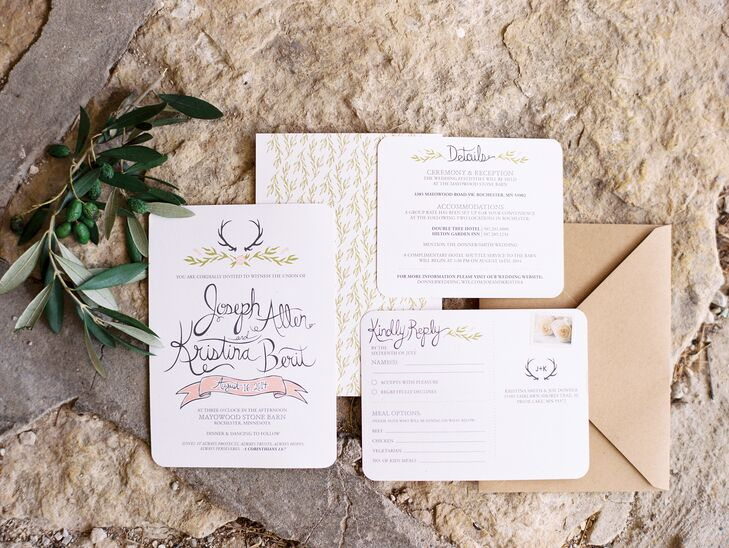 Kristina made all of the invitations and stationery herself, drawing on the pale peach and pink color palette, as well as the wedding's rustic vibe. She hand-drew the illustrations for each piece, an antler and greenery motif to give the invitations an organic, yet playful look.rnrn