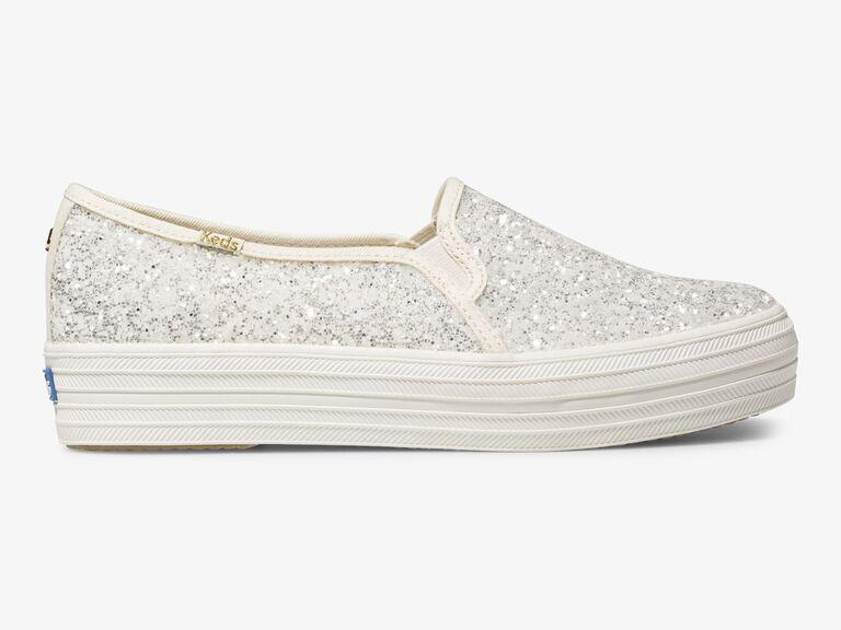 Silver and white glitter slip-on Keds