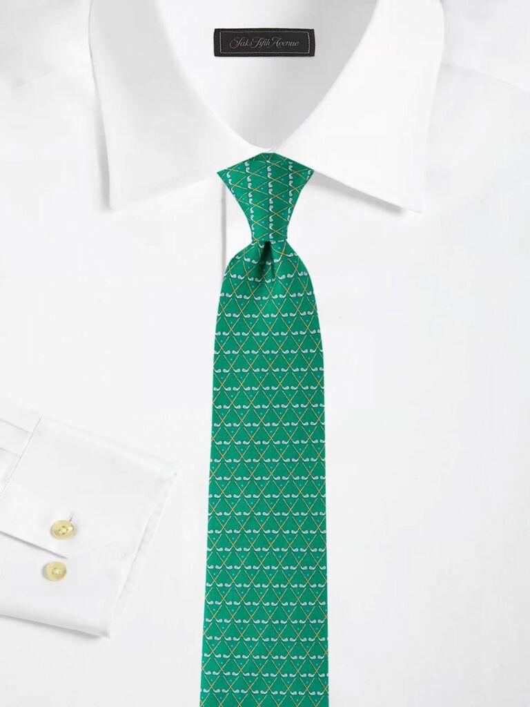 Emerald green golf print tie 16th anniversary gift