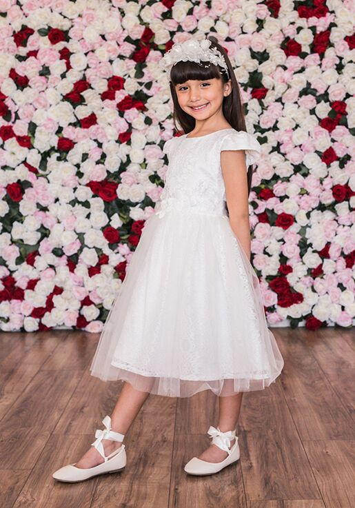 Kid's Dream C205 Ivory,Pink Flower Girl Dress