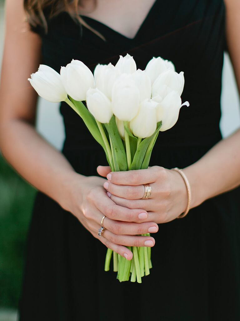 White Bridesmaids Bouquet Of Tulips