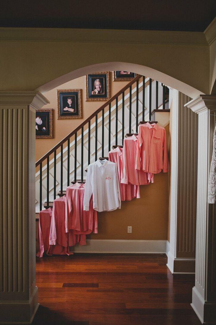 Coral Groomsmen's Shirts