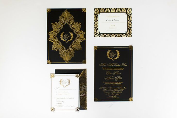 Art Deco Custom Invitations in Black and Gold