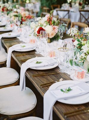 Rustic Farm Tables with Gold Flatware and Glassware