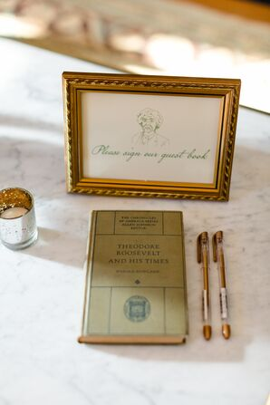 Whimsical Guest Book and Sign with Mark Twain Illustration