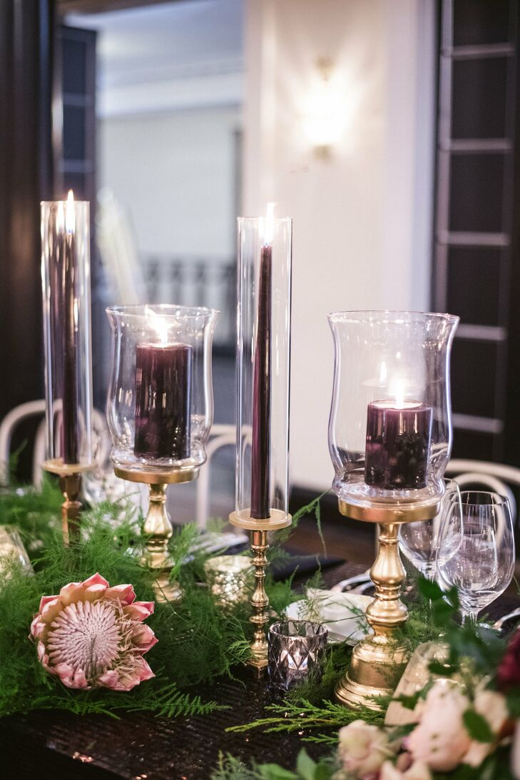 Glass Votives with Burgundy Candles