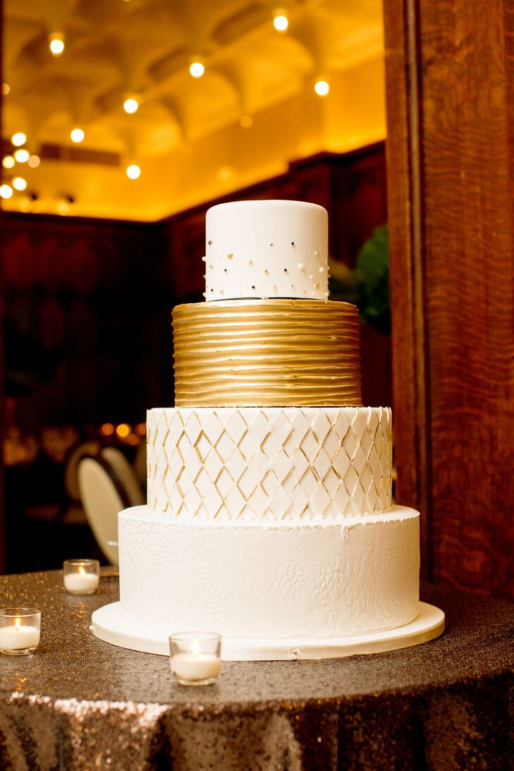 """""""Eric really wanted the perfect cake, and we got it,"""" Michael says of the chocolate fudge and orange almond cake with layers of salted caramel and passion fruit mixed with buttercream."""