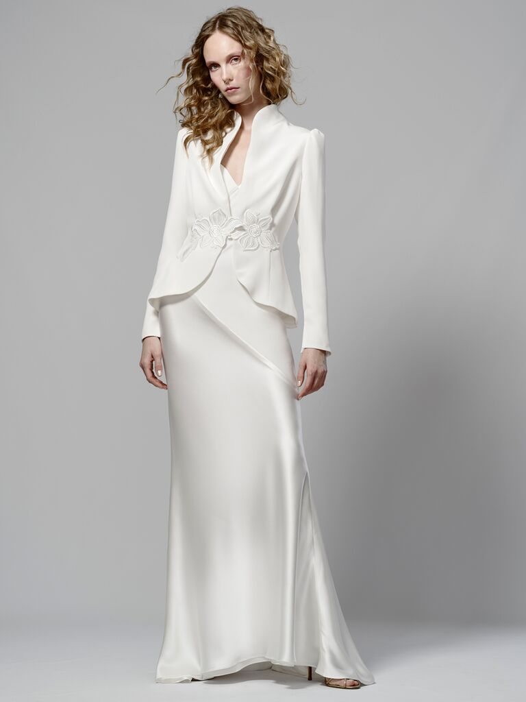 Elizabeth Fillmore Spring 2019 wedding dress with fitted jacket