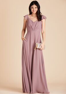 Birdy Grey Kae Bridesmaid Dress in Dark Mauve V-Neck Bridesmaid Dress