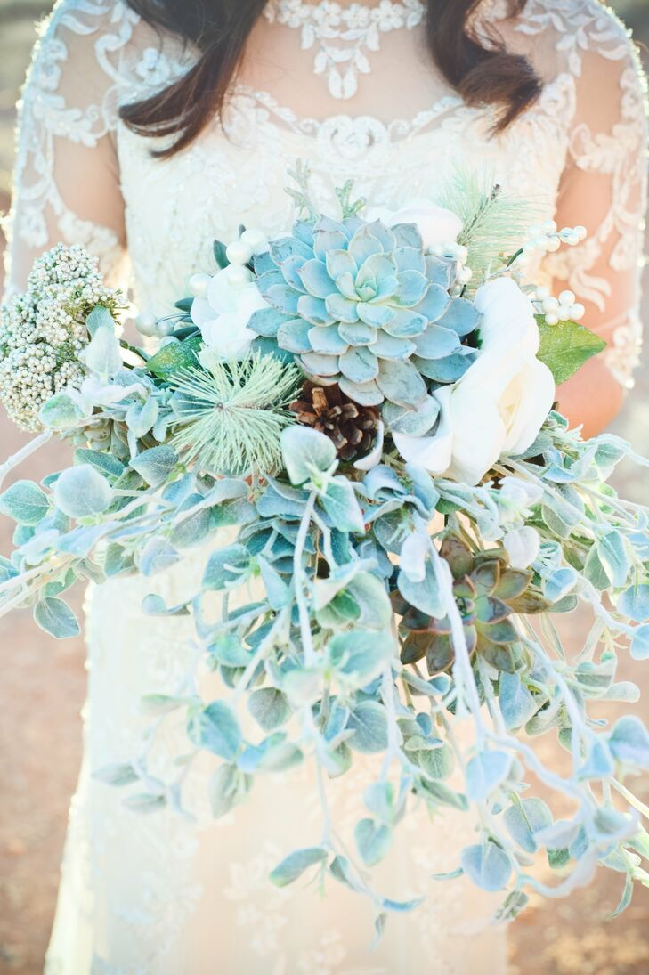"""The bouquets and boutonnieres have special meaning to us because they were made by our family members and they are unique,"" Genesis says. ""The cabbage, kale and succulents were all handpicked at a local nursery and put together by loved ones."""