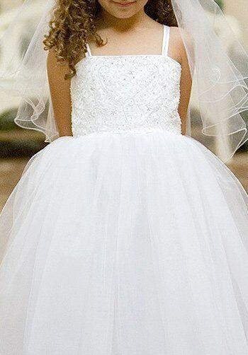 Pink Princess D8037 White Flower Girl Dress
