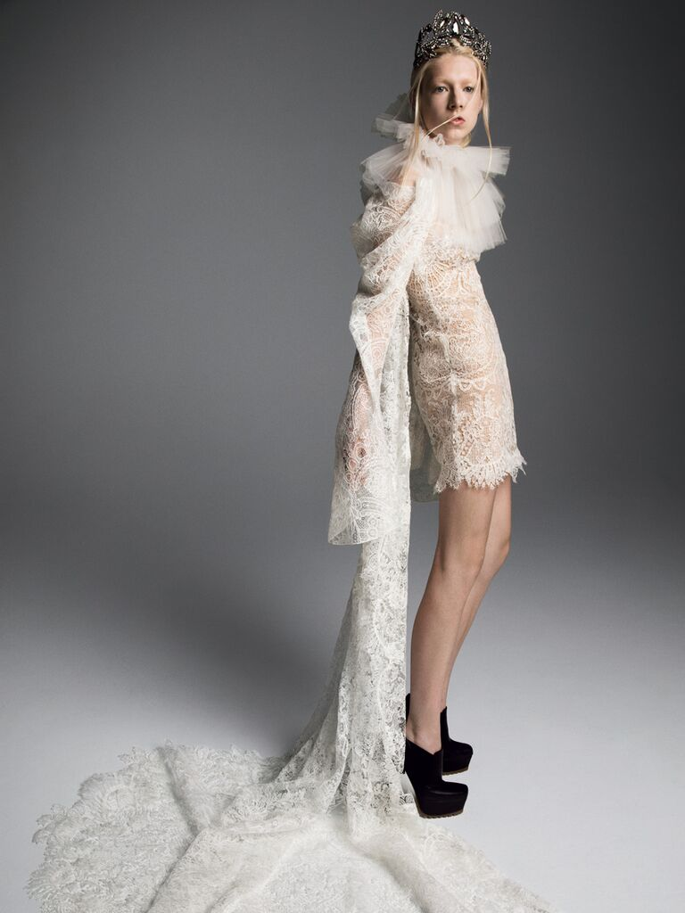 Vera Wang Fall 2019 Bridal Collection lace mini dress with tulle neck detail and dramatic train