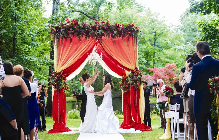 Red Fabric and Floral Wedding Huppah