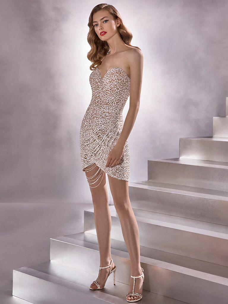 Atelier Provonias wedding dress short sparkly dress